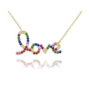 Jewelry - 14K Gold Plated Rainbow Scripted Love Necklace